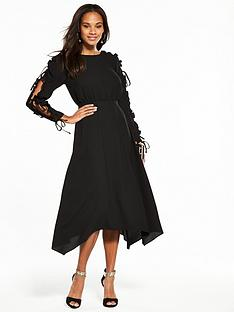 v-by-very-frill-open-sleeve-hanky-hem-midi-dress-black