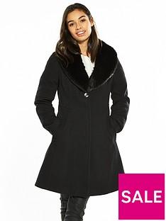 wallis-petite-fit-and-flare-coat-black
