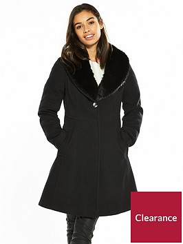 wallis-petite-fit-and-flare-coat-black
