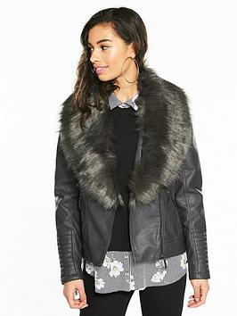 wallis-nbsppetite-glam-faux-fur-collar-biker