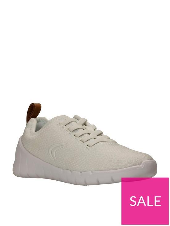 9615f9c0e889e Clarks Sprint Flux Girls Trainers - White | very.co.uk