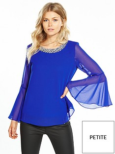 wallis-petite-trim-flute-sleeve-top