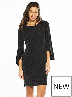 wallis-petite-sparkle-flute-sleeve-dress