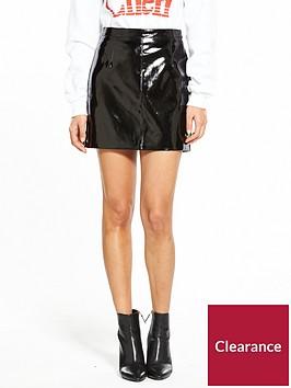 miss-selfridge-vinyl-mini-skirt-black
