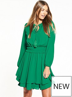 v-by-very-tie-neck-tiered-dress