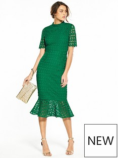 v-by-very-lace-high-neck-bodycon-flippy-hem-dress-emerald-green