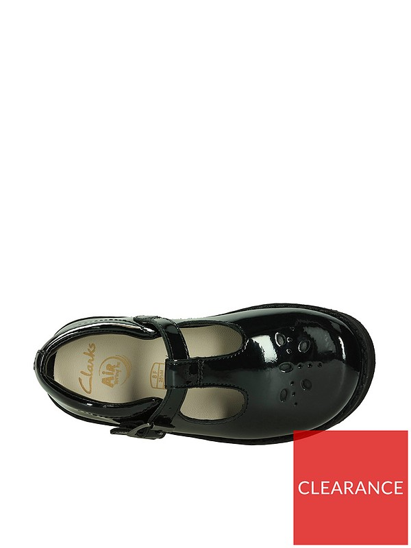 Clarks Girls Crown Wish Black Patent Leather Smart T-Bar School Shoes