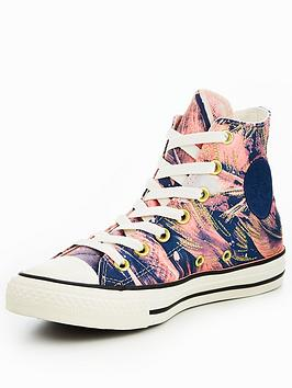 Converse Chuck Taylor All Star Feather Print Hi-Tops - Pink Multi