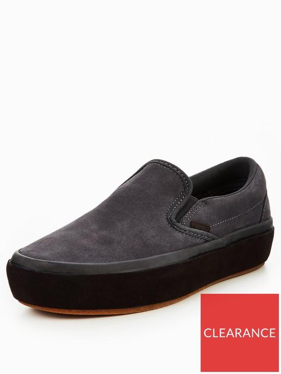 9ec3b5a1503 Vans UA Classic Slip-On Platform - Grey Black