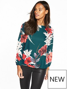 wallis-zip-back-floral-blouse