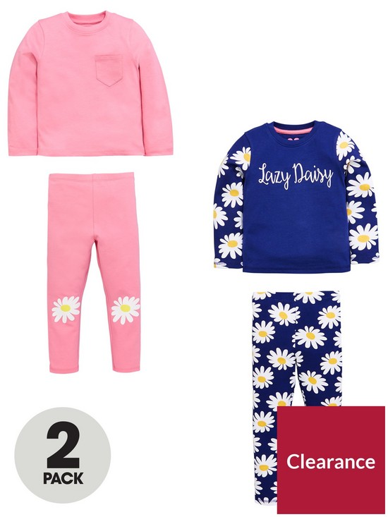 c0c338736 Mini V by Very Girls 2 Pack Daisy And Pink Pyjamas