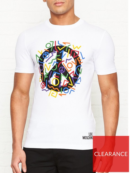 a3a145e5 LOVE MOSCHINO Multi Peace Logo Print T-shirt - White | very.co.uk