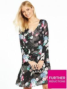 wallis-drop-waist-floral-dress