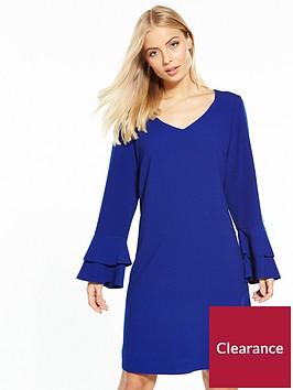 wallis-double-fluted-sleeve-shift-dress-blue