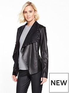 wallis-studded-waterfall-jacket-black