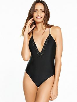 South Beach Plunge Front Swimsuit With Gunmetal Stud Detail - Black