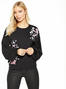 v-by-very-floral-printed-balloon-sleeve-sweat