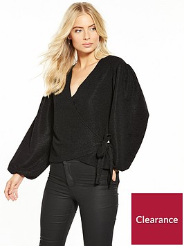 v-by-very-wrap-balloon-sleeve-top-black