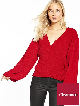 v-by-very-wrap-balloon-sleeve-top