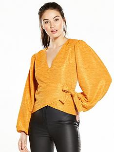 v-by-very-wrap-balloon-sleeve-top-mustard
