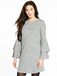 v-by-very-tiered-sleeve-brushed-snit-dress