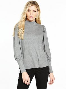 v-by-very-balloon-sleeve-snit-grey-marl