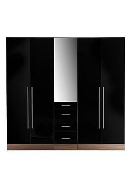 consort-palermo-5-door-3-drawer-mirrored-wardrobe