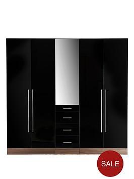 consort-palermo-5-door-3-drawer-mirrored-wardrobe