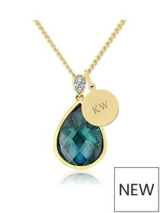 keepsafe-personalised-sterling-silver-yellow-rhodium-blue-cz-pendant-with-initial-charm
