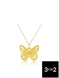 keepsafe-keepsafe-sterling-silver-yellow-rhodium-personalised-butterfly-pendant-with-cubic-zirconia