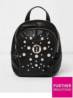 river-island-river-island-girls-pearl-embellished-small-backpack