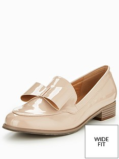 v-by-very-sandy-wide-fit-bow-loafer-nude