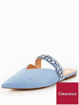 v-by-very-harmony-embellished-pointed-flat-mule-blue