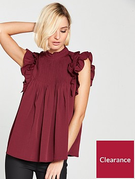 river-island-frill-sleeve-top--dark-red