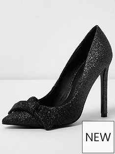 river-island-river-island-ombre-pointed-knot-front-court-shoe--black-glitter