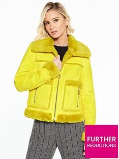 river-island-river-island-faux-shearling-trucker-jacket--yellow