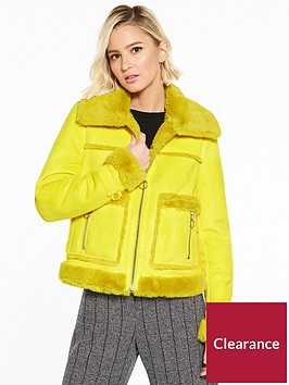 river-island-river-island-faux-shearling-trucker-jacket--yellow