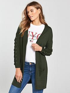 v-by-very-eyelet-lace-up-sleeve-cardigan-khaki