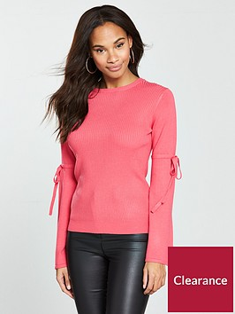 v-by-very-tie-flare-sleeve-rib-jumper-coral-pink