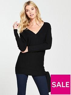 v-by-very-tie-hem-rib-sleeve-tunic-black
