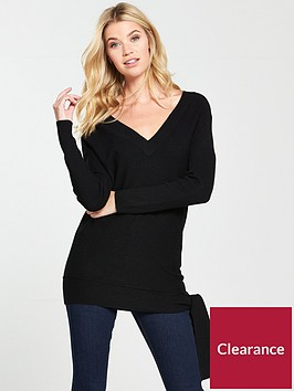 v-by-very-tie-hem-rib-sleeve-tunic-black