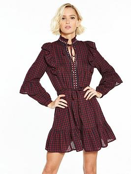 river-island-waisted-dress--berry-check