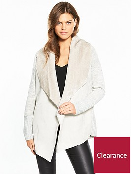 river-island-river-island-faux-fur-collar-cardigan--light-grey