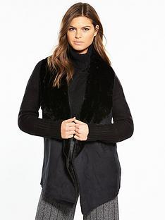 river-island-river-island-faux-fur-collar-cardigan--black