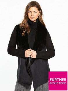 river-island-river-island-faux-fur-collar-cardigan--black