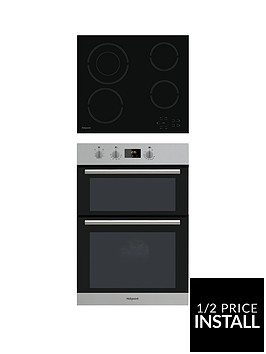 hotpoint-class-2-dd2540ix-60cm-built-in-double-electric-oven-and-hr612chnbspceramic-hob-stainless-steelblack