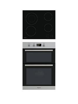 Hotpoint Class 2 Dd2540Ix 60Cm Built-In Double Electric Oven And Hr612Ch Ceramic Hob - Stainless Steel/Black thumbnail