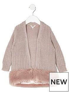 river-island-mini-girls-pink-fur-hem-metallic-cardigan