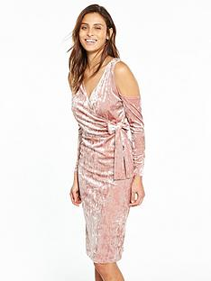 v-by-very-velvet-wrap-midi-dress-rose-pink