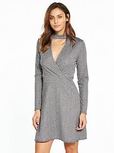 v-by-very-choker-metallic-dress